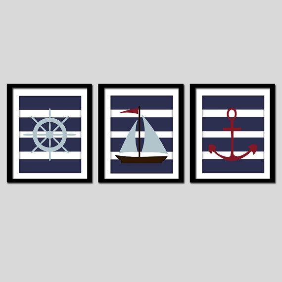 arte náutico de la pared impresiones náutica por AmysSimpleDesigns
