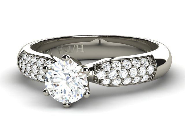 18K White Solid Gold Solitaire with Side Diamonds Round Cut - Paul Jewelry