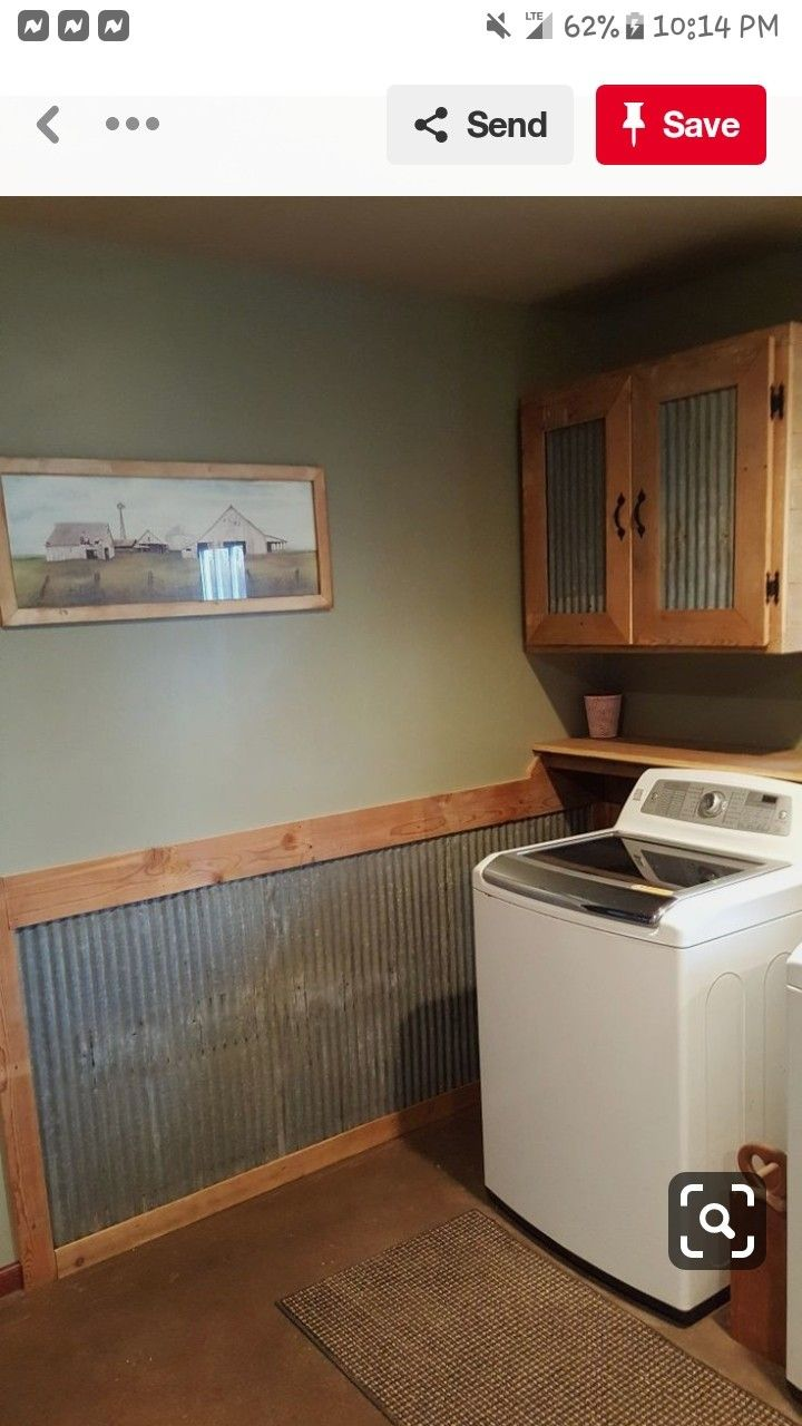 Metal Wainscoting Rustic Laundry Rooms Laundry Room Design