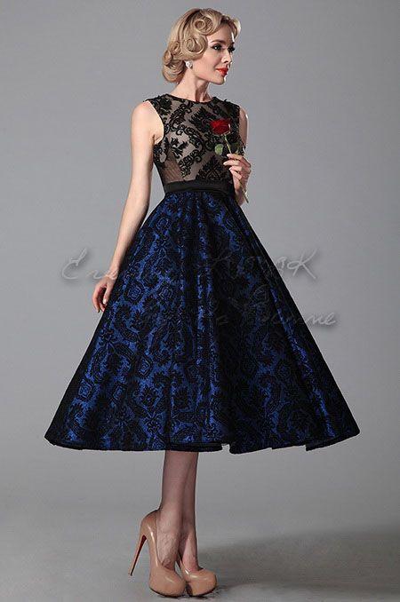 Вечернее винтажное коктельное синее кружевное платье в стиле 60-х годов