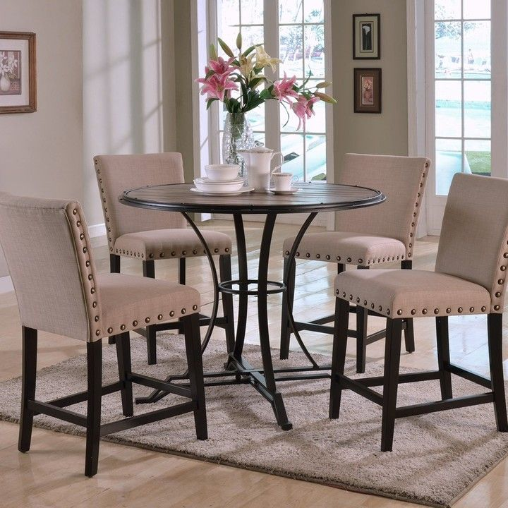 Acme Furniture Byton 5 Piece Round Counter Height Dining Table Set