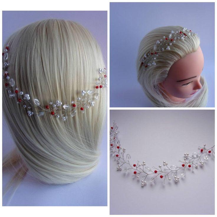 Vigne de cheveux avec perles et cristaux Swarovski/Accessoire de mariage/Couronne de mariage/Bandeau avec perles/ 15 couleurs disponibles de la boutique HappyWeddingDreams sur Etsy