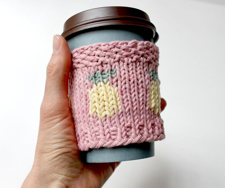 Pineapple Cup Cozy, Organic Coffee Cozy, Iced Coffee Sleeve, Summer Drink Cozy, Summer Gift, Pineapple Gift, Cotton Cup Sleeve, Beach Style by KnittyVet on Etsy