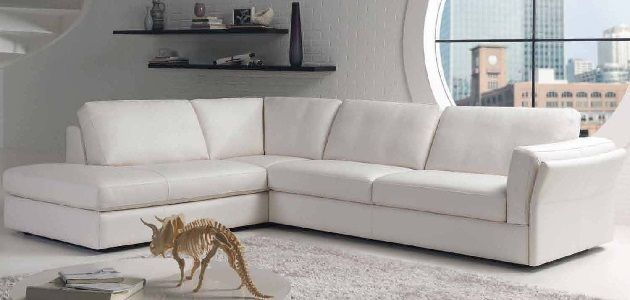 White Leather Sofa L Shape