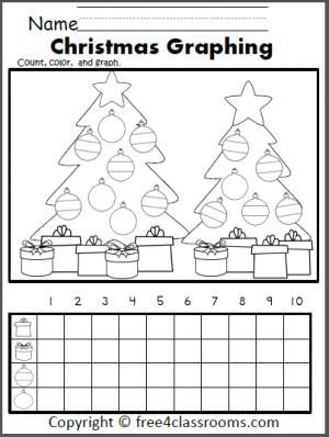 Free Christmas Graph Worksheet. Fun December preschool, Kindergarten, or 1st grade activity.