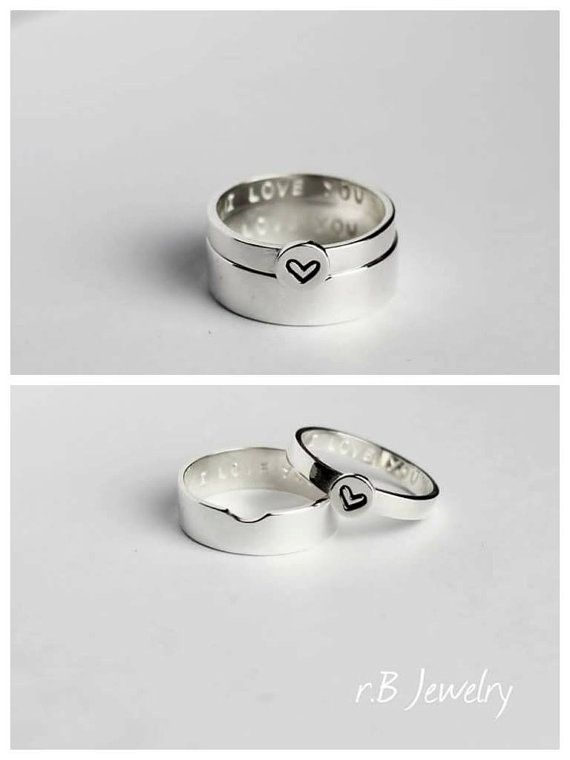 Promise Rings For Couples, Couple Ring Set, Matching Promise Ring  ✤ IMPORTANT  By purchasing an item from our store, you are agreeing to our shop policies. Please make sure to read them to avoid any confusion. You can find them here: https://www.etsy.com/shop/jewelryrb#policies  And if you have any questions please do not hesitate to contact us.  ✤ SPECIFICATIONS  • Made of sterling silver. • His width band is 5 mm, her width band is 3 mm. • The price $60 is for TWO rings. • Comes in a box…