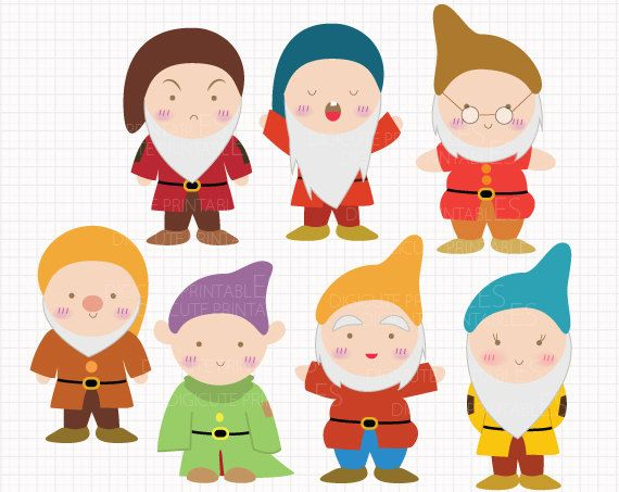 Disney Inspired Seven Dwarfs From Snow White Digital CLIP ARTS Personal And Commercial Use For Invitations Cupcake Toppers Party Supplies By Digicute On