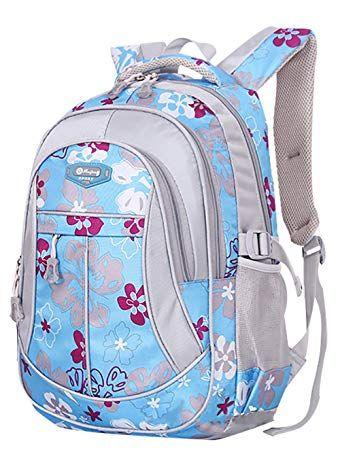 SellerFun® Kid Child Girl Flower Printed Waterproof Backpack School Bag (Blue c93e7c7d0bd4c