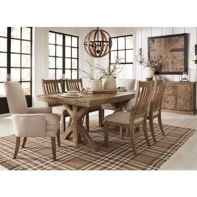 Grindleburg Dining Room Set W Light Brown Chairs Brown Dining