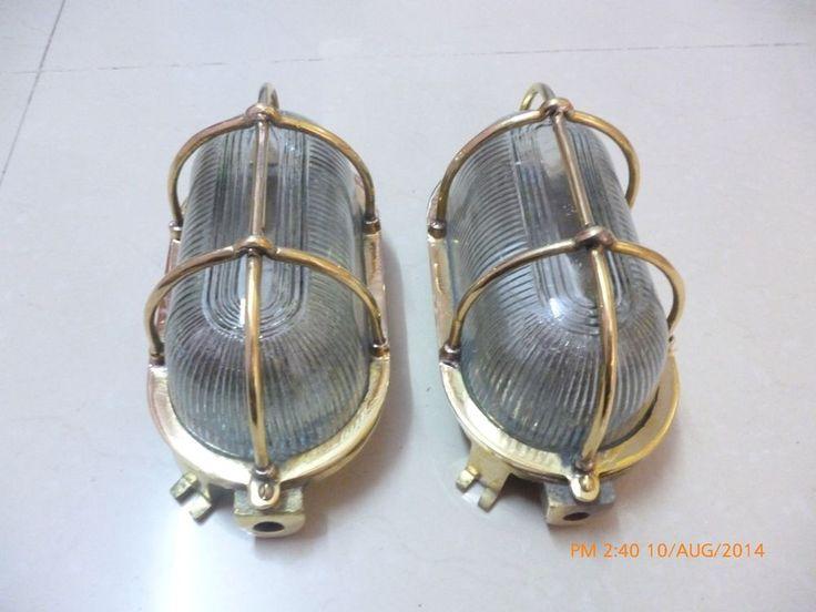 Rare vintage marine brass passage light set of 2