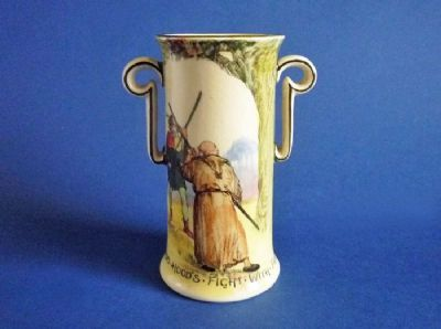 Royal Doulton Under the Greenwood Tree 'Robin Hood Fights Friar Tuck' Vase c1920