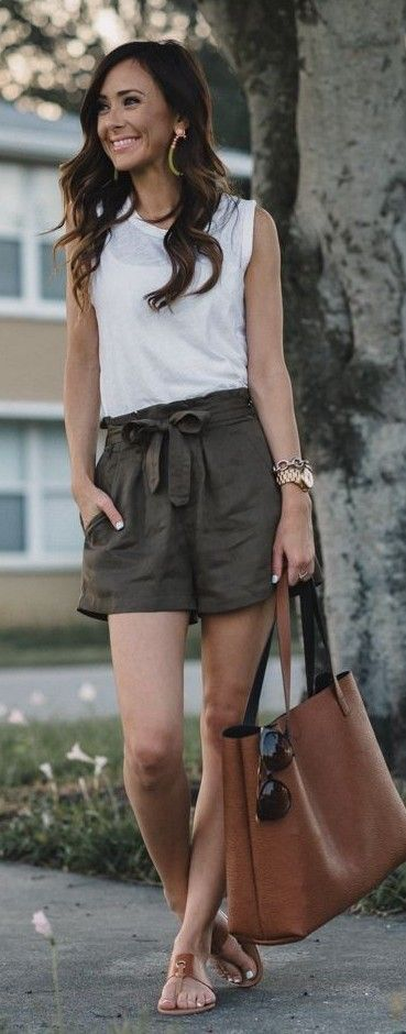 #spring #summer #outfitideas | White Top + Khaki Shorts |Sequins & Things