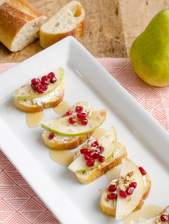 Pear, Pomegranate and Goat Cheese Crostini topped with Walnuts and ...