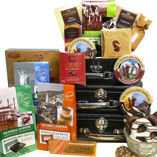 The Chocolate Traveler Gift Tower, International Collection of Decadent Chocolate Treats - http://www.specialdaysgift.com/the-chocolate-traveler-gift-tower-international-collection-of-decadent-chocolate-treats/