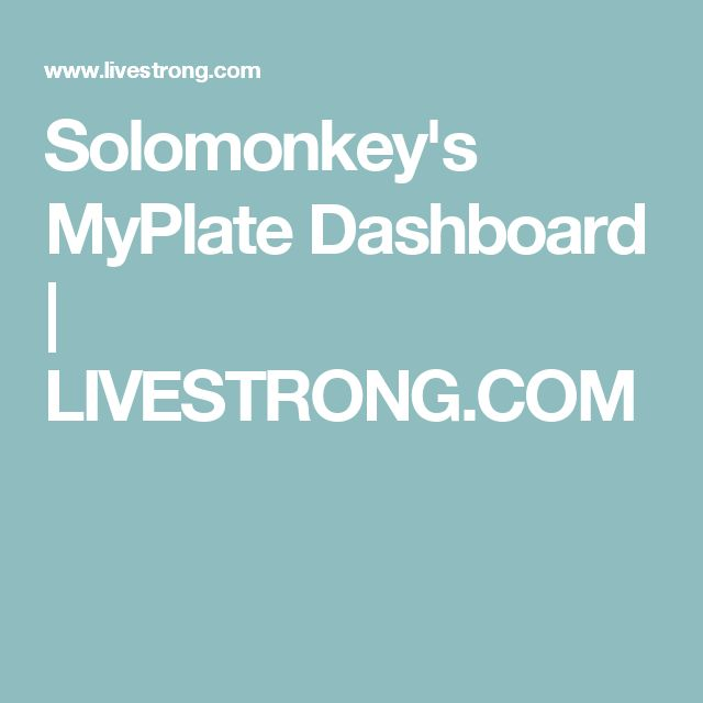 Solomonkey's MyPlate Dashboard | LIVESTRONG.COM