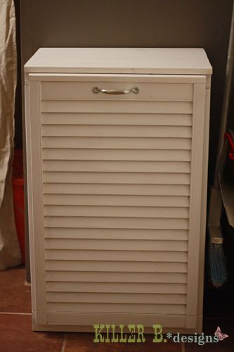 Tilt Out Trash Cabinet From Salvaged Shutter