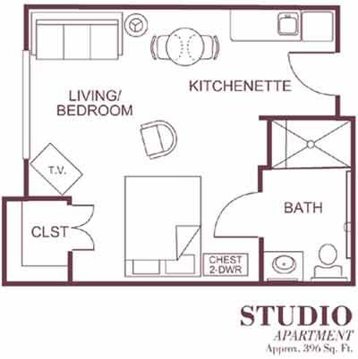 Sample Floor Plan Of Our Studio Style Assisted Living Apartments