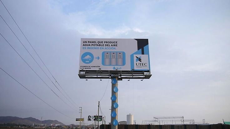 a billboard in peru creates clean drinking water from air humidity