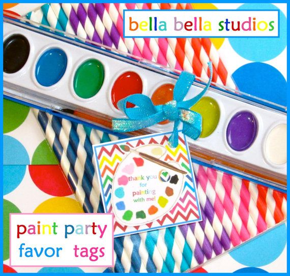 PAINTING  ART Birthday Party PRINTABLE Favor by bellabellastudios, $5.00