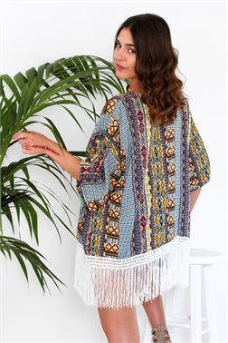 Bohemian Fringed Kimono - ΡΟΥΧΑ -> Kimono & Jackets | Made of Grace