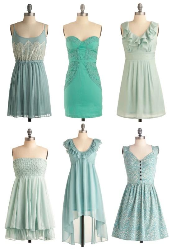 Mismatched Bridesmaid Dresses Aqua - Wedding Ideas, Wedding Trends, and Wedding Galleries
