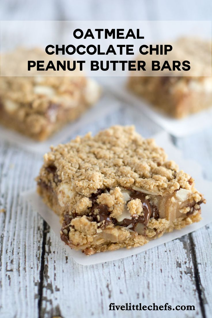 Oatmeal Whole Wheat Peanut Butter Bars With Chocolate Chips Recipe ...