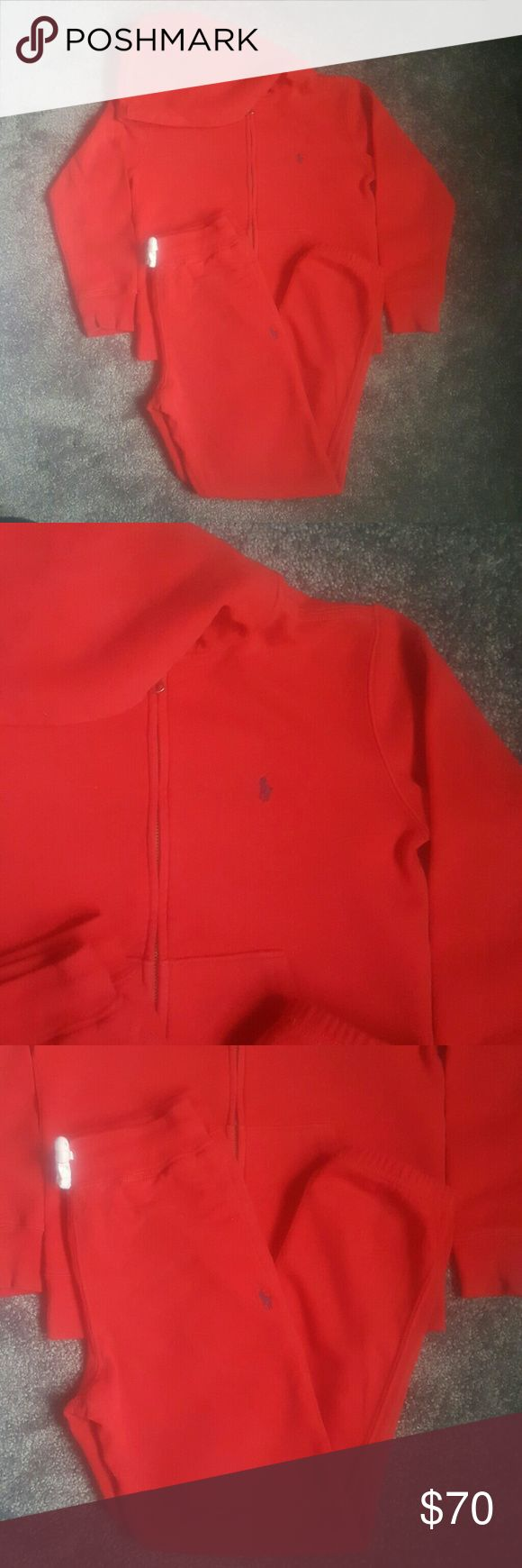 Boys Polo jogging suit Red jogger with blue polo sign. Sm (8) Polo by Ralph Lauren Matching Sets
