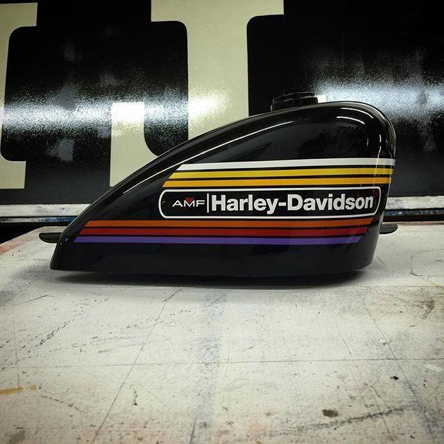 Harley Amf Decal Pair With Color Striping Harley Davidson Motorcycles Harley Classic Harley Davidson