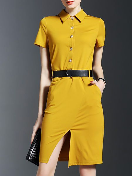 Slit Pockets Shirt #Dress with Belt