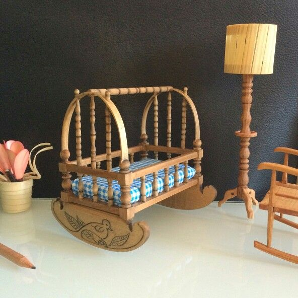 Miniature Rocking Cradle / Crib - Handmade