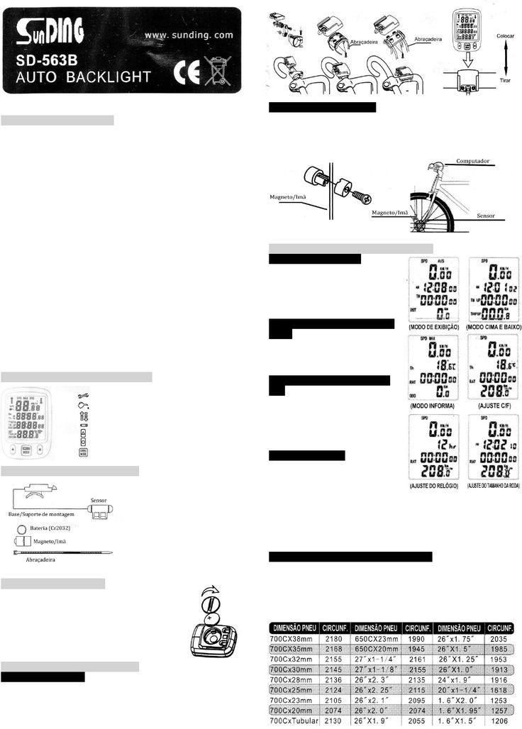 Manual Ciclocomputador SunDING SD-563B (português