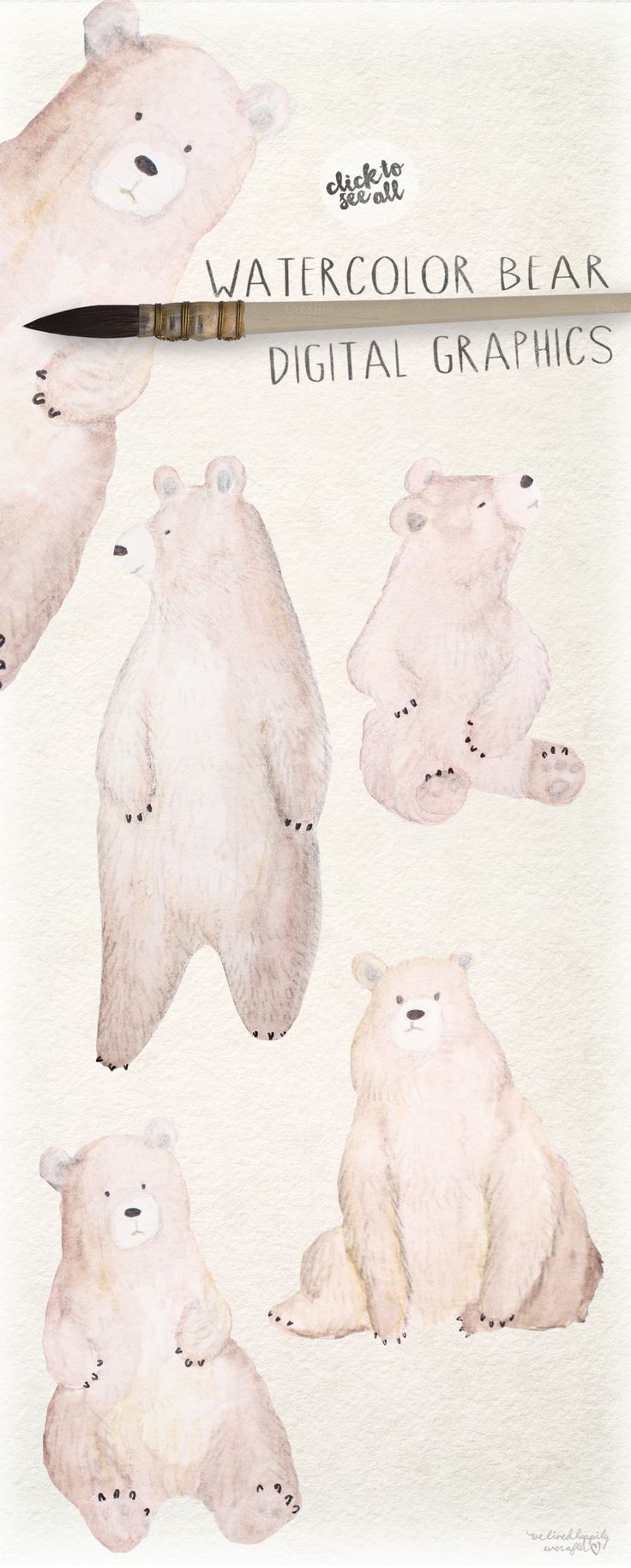 Watercolor Bear Digital Graphics - Illustrations - 3