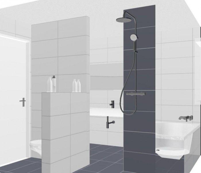 Kleine badkamer met bad inloop douche wastafel en apart toilet wit hoogglans antraciet for Fotos wc hangen tegel