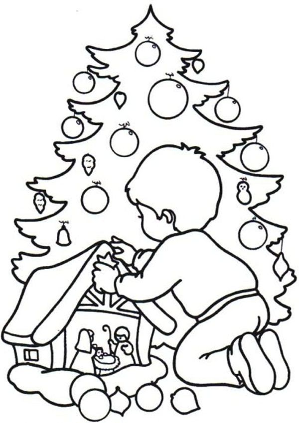 christmas coloring pages with names - Christmas Tree Printable Coloring Page 2