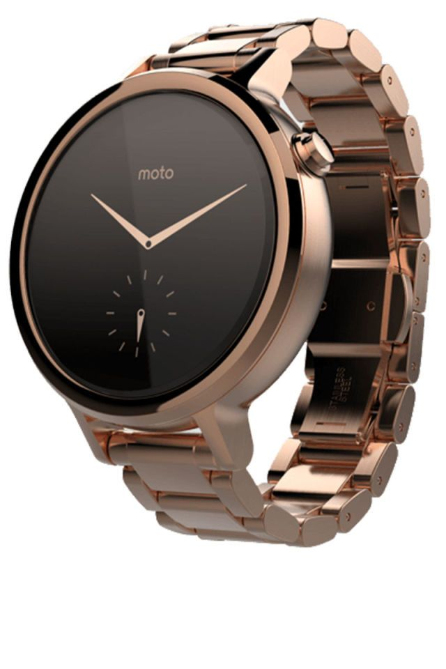 Could Motorola's new Moto 360 rival the Apple Watch? The newest smartwatch comes with a much sleeker and stylish look—without the bulkiness of most wearable tech pieces. The watch can be custom-designed in leather or metal, in gold, roseg old, silver and black options, with prices starting at $300.  Motorola Moto 360, starting at $299, motorola.com.    - HarpersBAZAAR.com