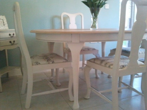 SHABBY CHIC PAINTED FRENCH COUNTRY STYLE VINTAGE TABLE AND 4 CHAIRS TOILE SEATS | eBay