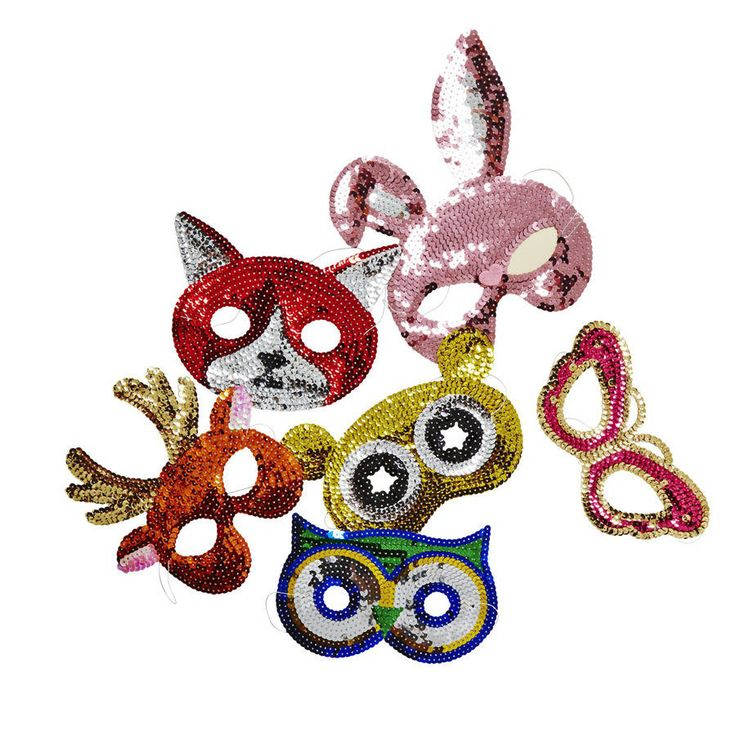 Colourful sequin animal mask.These masks will delight anyone who loves to play dressing up adding a glitter and colourful touch to any outfit. Gorgeous sequin embellished masks, so nice they can hang on a wall as decoration when you are not using it. Available in butterfly, rabbit, fox, deer, owl and even koala. Suitable for ages 3 and upsequinsaprox 15cm