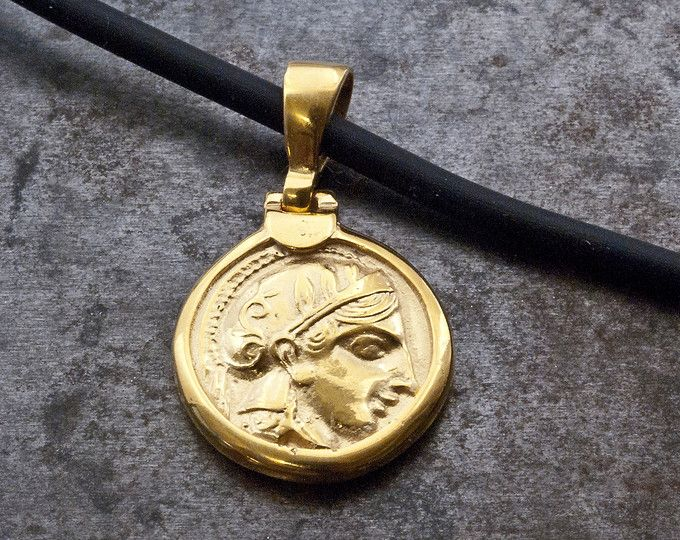 Gold Ancient Greek Coin Necklace, Small Coin Pendant Goddess Athena, Ancient…