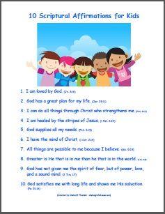 10 Scriptural Affirmations for Kids