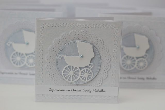 papieroffka zaproszenia na chrzest święty, wózek, wózeczek