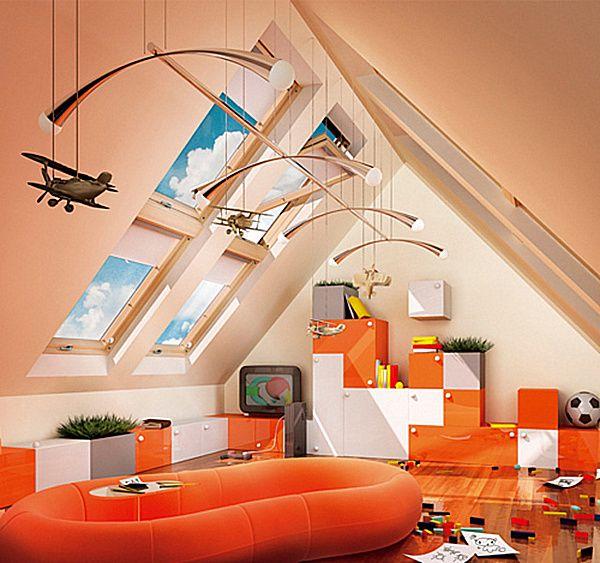 cuarto de juegos en naranja