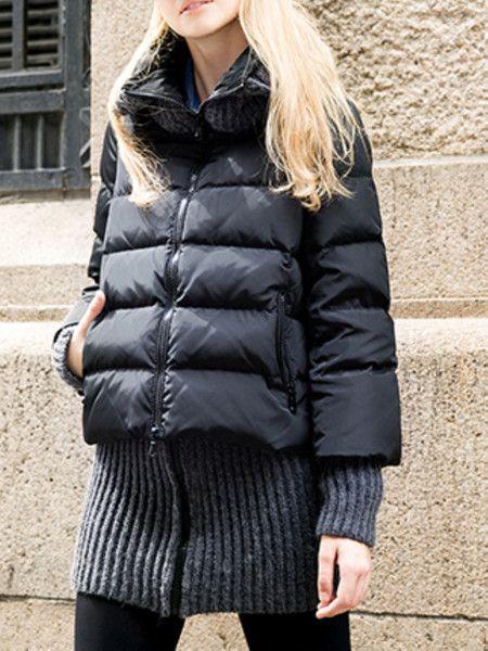 Black Paneled Fashion Down Coats