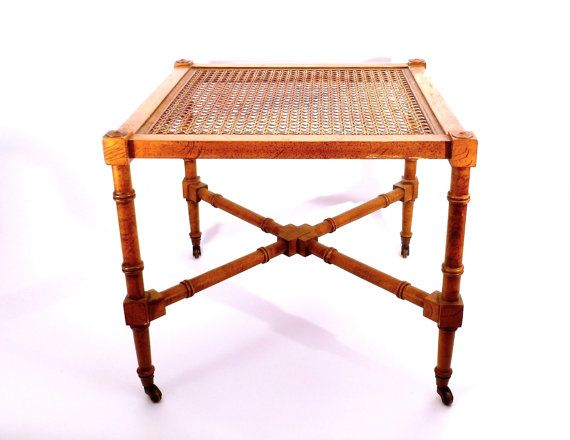 Hollywood Regency Faux Bamboo End Table ... Cane, Side Table, Castors