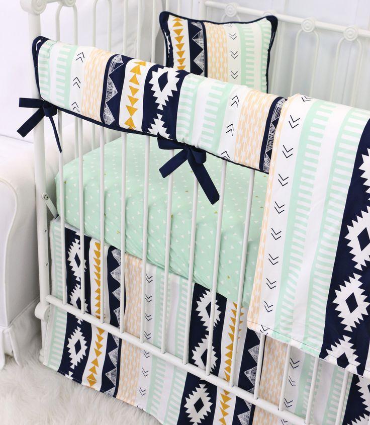 Mint & Navy Boy Aztec Crib Bedding