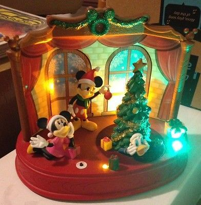 Animated Christmas Musical Disney Scene Donald Duck Mickey Minnie Lights Songs  | eBay