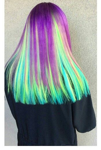 Green purple dyed hair @hellahotroots
