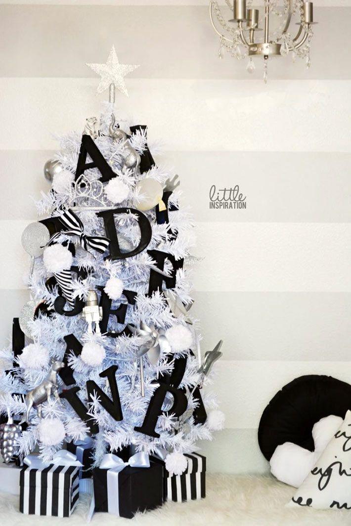 Контрастный черно-белый новогодний декор фото 15