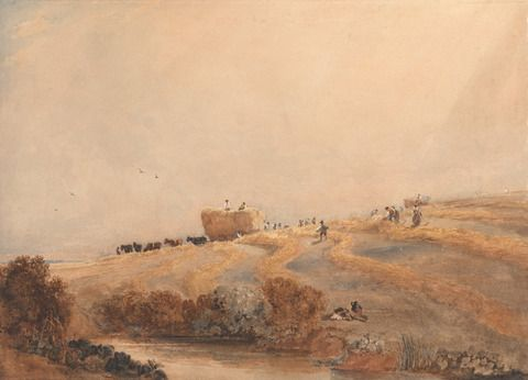 David Cox, 1783–1859, British, Haymaking, ca. 1808, Watercolor over graphite with scratching out on moderately textured, medium, cream wove paper mounted on thick card, Yale Center for British Art, Paul Mellon Collection