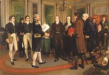The Treaty of Ghent, signed on December 24, 1814, in the city of Ghent, Belgium. This was the peace treaty that ended the War of 1812 between the United States and the United Kingdom. The treaty restored relations between the two nations to status quo ante bellum, restoring the borders of the two countries to the lines before the war started in June 1812.