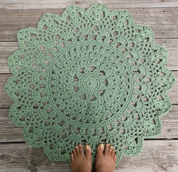 Sage or Spruce Green Cotton Crochet Doily Rug by byCamilleDesigns, $65.00